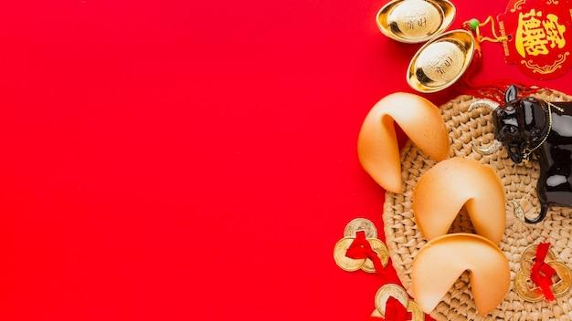 Biscoitos da sorte chineses de ano novo de 2021 e boi