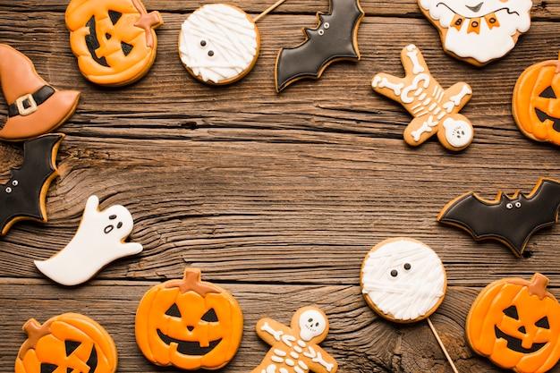 Biscoitos de abóbora e fantasmas de halloween