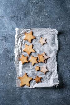 Biscoitos de açúcar de forma de estrela de natal