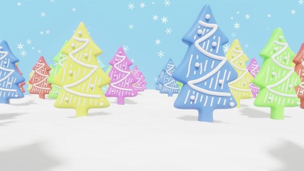 Biscoitos de árvores de natal em um campo nevado