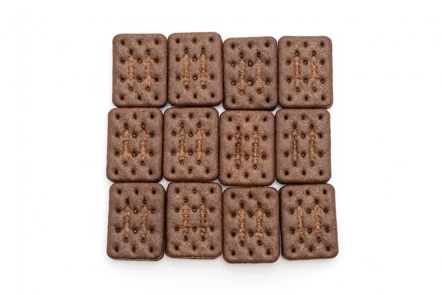 Biscoitos de chocolate com creme de chocolate