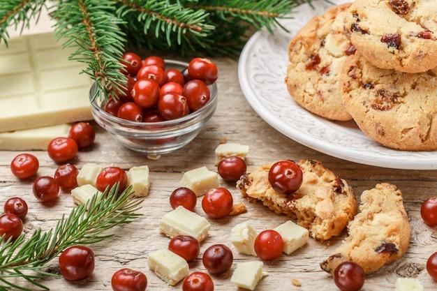 Biscoitos de cranberry de natal caseiros