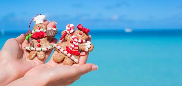 Biscoitos de gengibre de natal nas mãos contra o mar azul-turquesa