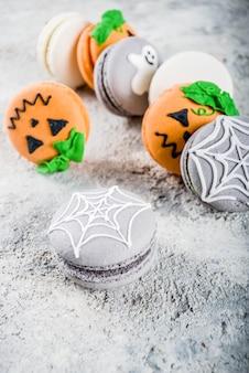 Biscoitos de macaron de halloween