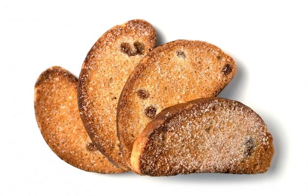 Biscoitos de passas isolados em um fundo branco