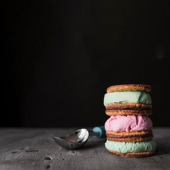 Biscoitos de sorvete de close-up