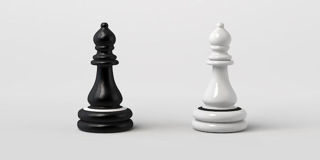 Bispo de xadrez preto e branco frente a frente. isolado em um fundo branco.
