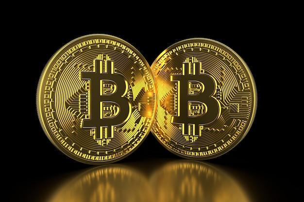 Bitcoin. as moedas de ouro com o símbolo do bitcoin isolado em 3d preto rendem.