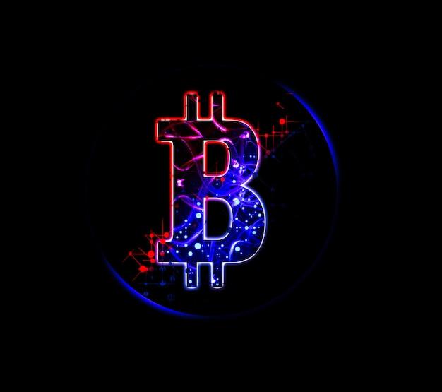 Bitcoin assina em fundo preto. novas ideias de investimento.