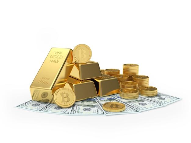 Bitcoin com barras de ouro e moedas em notas de dólar