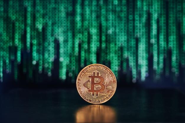 Bitcoin com código na superfície
