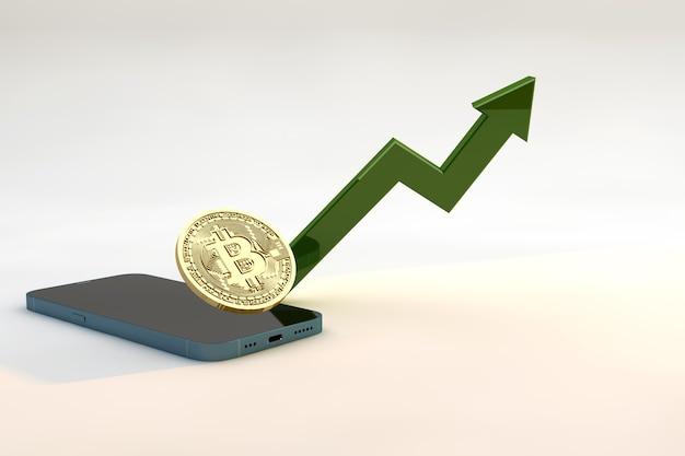 Bitcoin com smartphone. mercado de câmbio de criptomoedas e diagramas verdes indicando o crescimento do bitcoin
