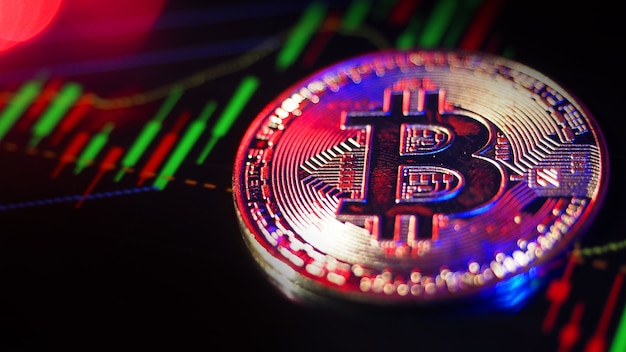 Bitcoin criptomoeda e barra de gráfico do mercado de ações. criptomoeda. crescimento do estoque de bitcoin. investindo em ativos de criptografia. plataforma de investimento com gráficos e moeda bitcoin. dinheiro digital do mercado de ações.