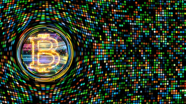 Bitcoin criptomoeda importar big data animação abstrato arco-íris spot light background