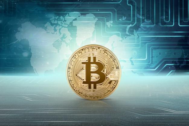 Bitcoin de dinheiro virtual dourado