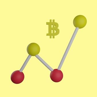 Bitcoin de gráfico de linhas 3d em fundo amarelo