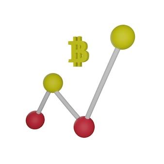Bitcoin de gráfico de linhas 3d em fundo branco