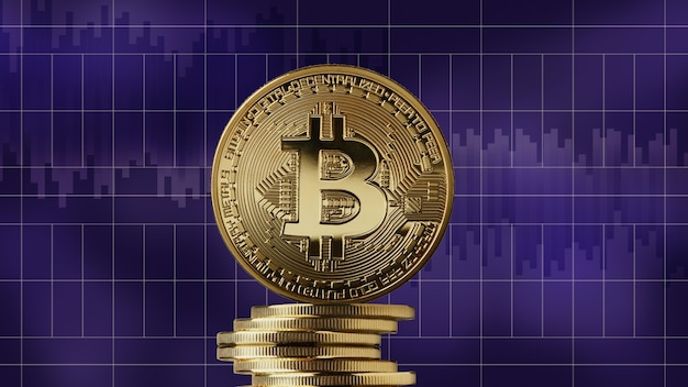Bitcoin de moeda de ouro e uma pilha de criptomoeda em um fundo de gráficos de mercado ultravioleta moderno. conceito de negociação de criptomoeda e blockchain. pode ser usado para vídeo ou capa do site