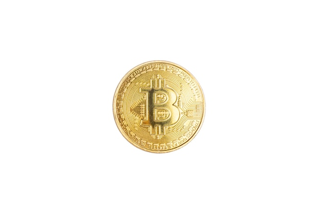 Bitcoin de moeda de ouro isolado no conceito de criptomoeda branco