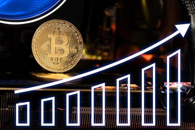 Bitcoin de ouro com seta ascendente de gráficos.