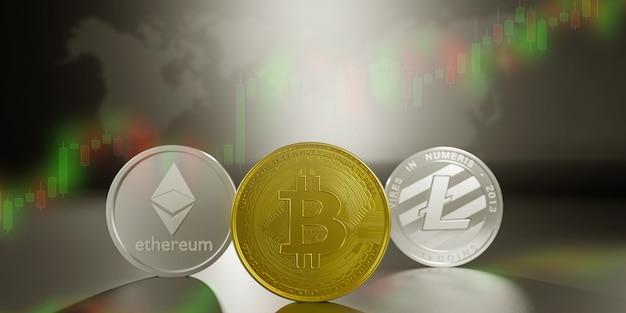 Bitcoin de renderização 3d, litecoins, conceito de dinheiro de moeda ethereum. pagamento de finanças digital blockchain. comércio eletrônico de rede metálica.