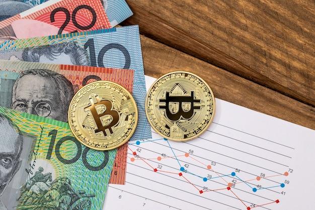 Bitcoin dourado e dólares australianos com gráficos