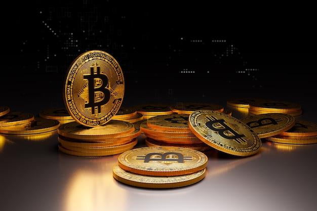 Bitcoin dourado em fundo escuro, renderização de ilustrações 3d