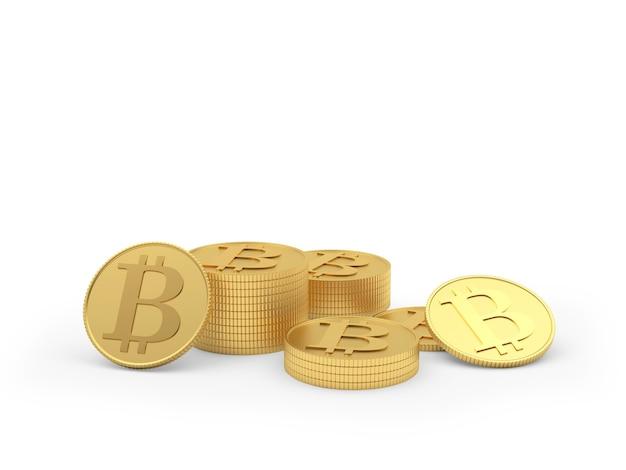 Bitcoin dourado espalhado 3d