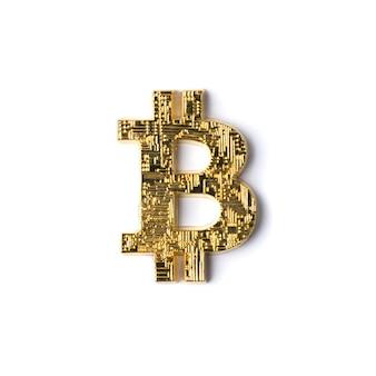Bitcoin dourado isolado. vista do topo
