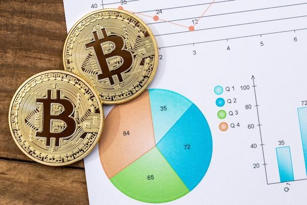 Bitcoin dourado no fundo do diagrama. macro