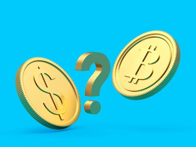 Bitcoin e moedas de dólar com um ponto de interrogação renderização em 3d