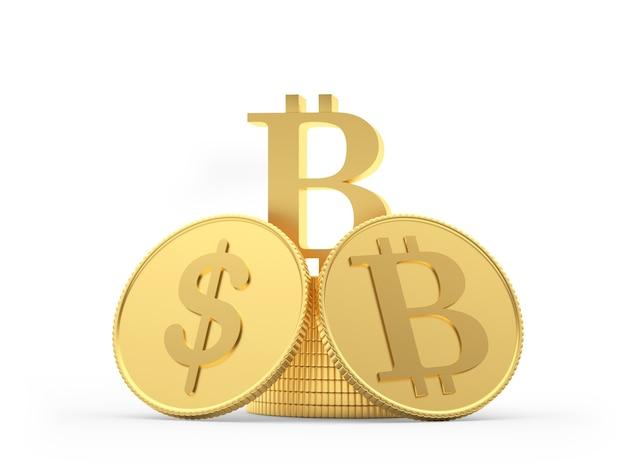 Bitcoin e moedas de dólar em uma pilha de moedas 3d