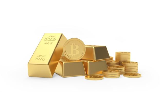 Bitcoin em barras e moedas de ouro