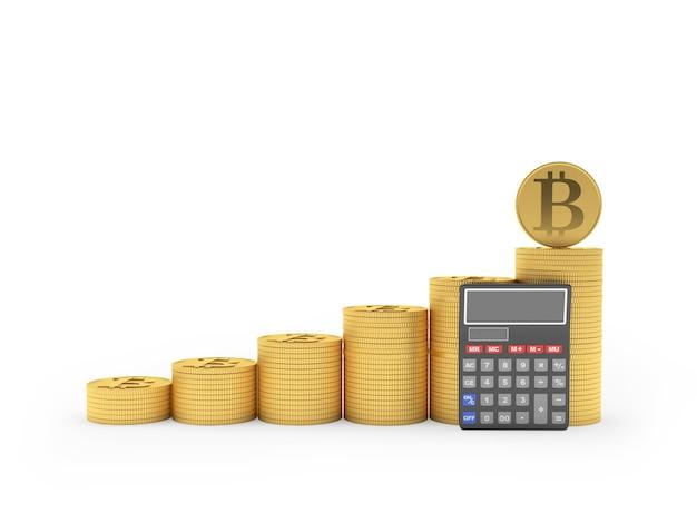 Bitcoin em pilhas de moedas e calculadora próxima