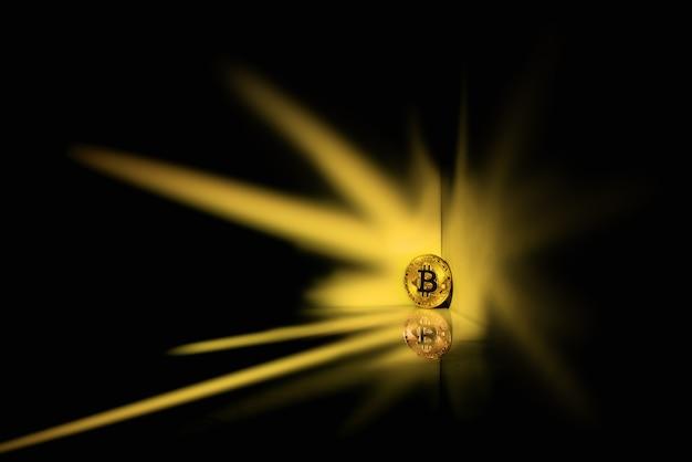 Bitcoin em um brilho em um espaço preto