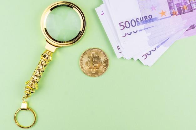 Bitcoin euro em fundo verde