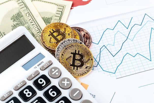Bitcoin, gráfico e dólar americano. negociação financeira