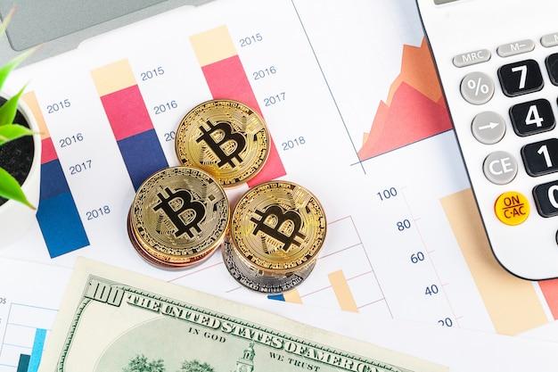Bitcoin, gráfico e dólar dos eua.