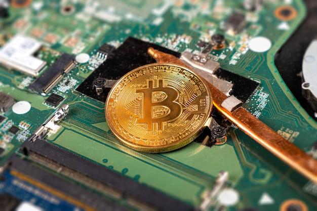Bitcoin mineração ouro btc closeup, tecnologia blockchain.