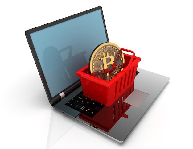 Bitcoin na cesta no laptop. ilustração renderizada em 3d