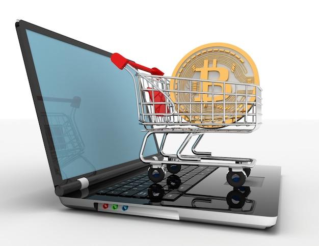 Bitcoin no carrinho no laptop. ilustração renderizada em 3d