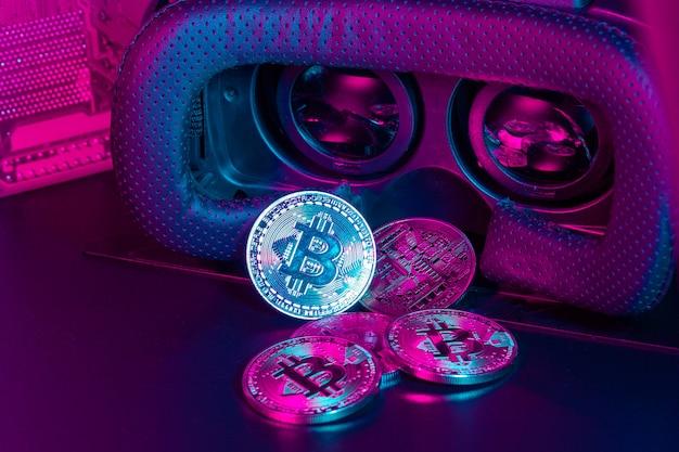 Bitcoin no dispositivo de realidade virtual vr
