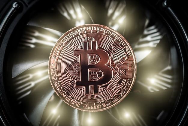 Bitcoin no fundo do ventilador do computador de refrigeração