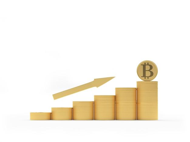 Bitcoin no gráfico de moedas de ouro com seta 3d