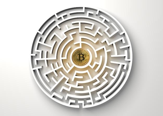 Bitcoin no ponto central do labirinto vista de cima.