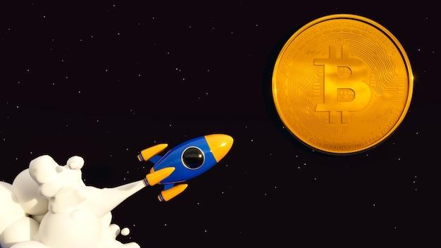 Bitcoin para a lua. ilustração crypto rocket 3d.