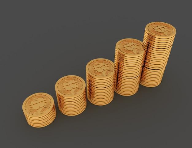 Bitcoins com gráfico de moedas. ilustração renderizada 3d