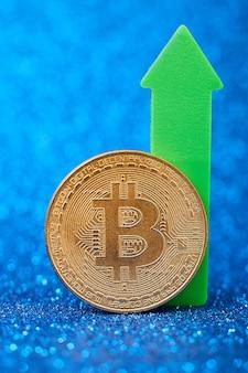 Bitcoins com gráfico gráfico de bastão de vela e digital