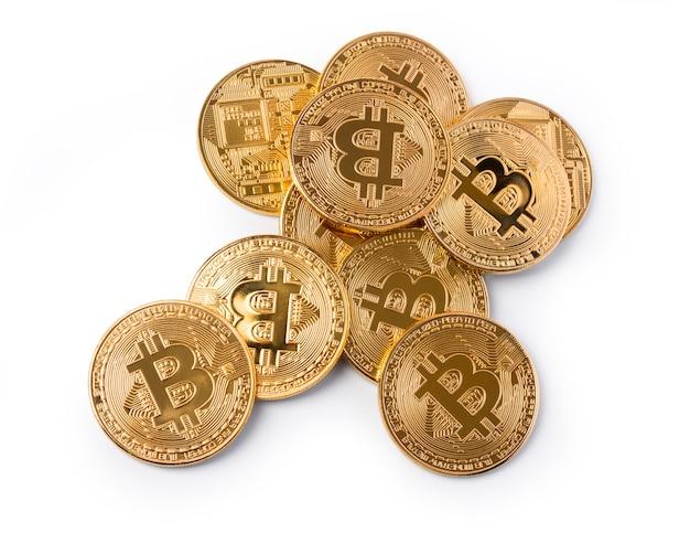 Bitcoins. dinheiro virtual novo isolado no branco com traçado de recorte