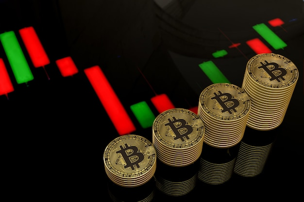 Bitcoins dourados com barras coloridas